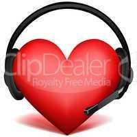 headphone with heart