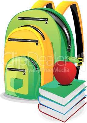 school bag with books and an apple