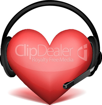 headphone with heart on white background