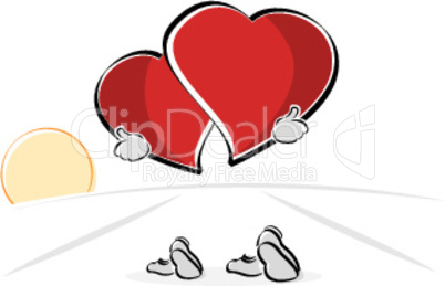 walking hearts on white background