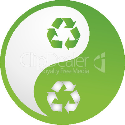 recycle yinyang on white background