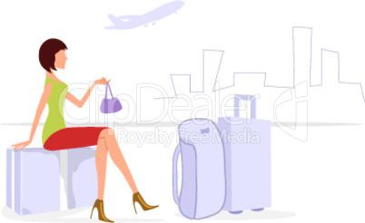 illustration of journey lady