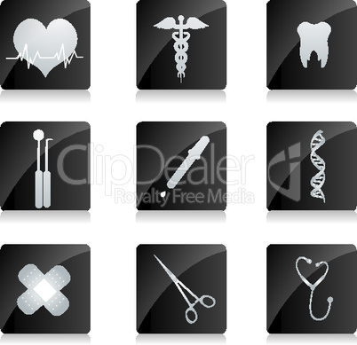 medical icons on square button