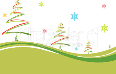 christmas card with colorful pine trees