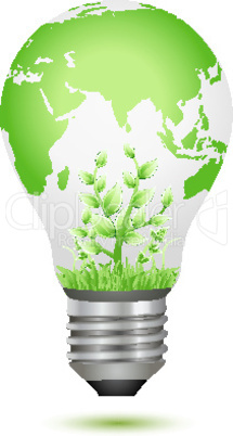 growing plant inside global bulb
