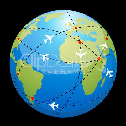 globe showing air route