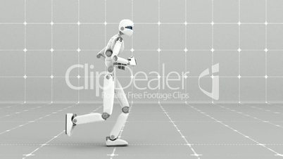 White futuristic robot jogging indoor- Side view