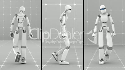 White futuristic robot walking indoor- Front-Side-Back view - Gray background laboratory