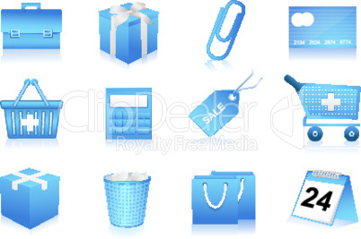 set of shopping and office icons