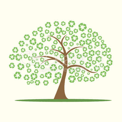 vector tree with recycle symbol as leaves