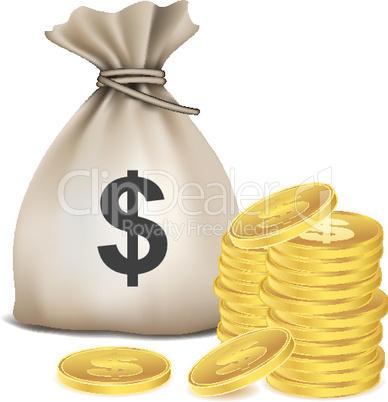 sack full of dollar coins