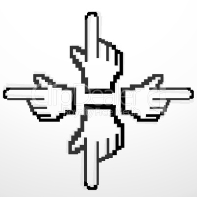 hand cursors pointing in different directions