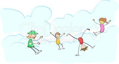 kids playing on cloud