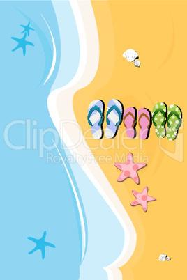 beach slippers on sea side