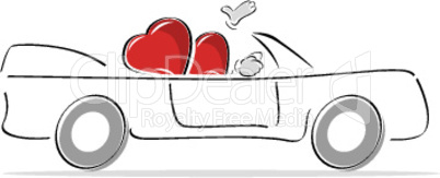 couple of heart enjoying car ride