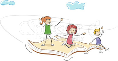 kids flying on book and enjoying