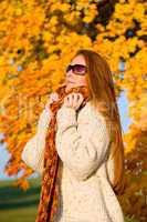 Autumn country sunset - long red hair woman