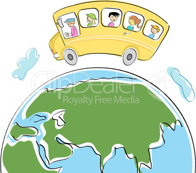 students in school bus on world tour