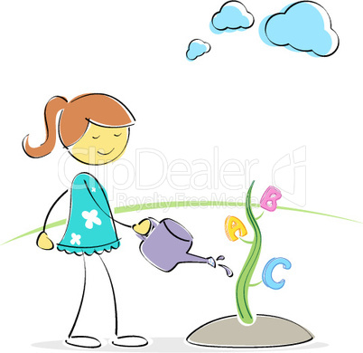 girl watering abc plant