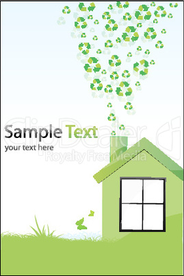 illustration of recycle home