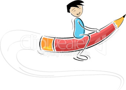 kid flying on pencil against white background