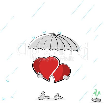 heart couple under an umbrella