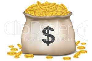 bag full of dollar coins