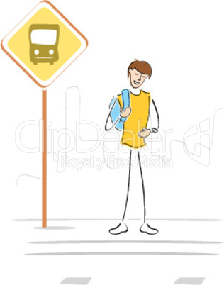 person at bus stop waiting for school bus
