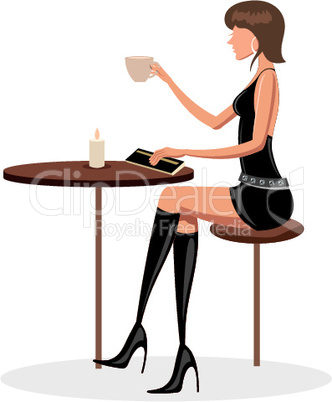 young lady in cafe