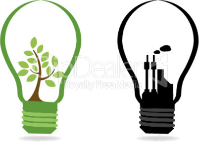 two bulbs with plant and industry