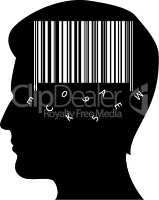 man's mind with barcode