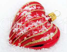 Red Heart with Snow - Merry Christmas