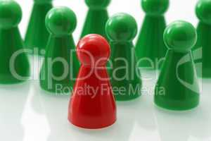 Leadership Concept - red green
