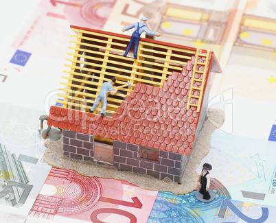 House and Money Concept - Hausbau und Geld