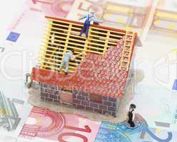 House and Money Concept - Hausbau und Geld