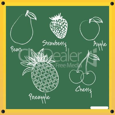 fruits sketch on chalkboard
