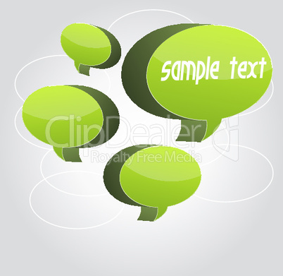 sample card with speech bubble