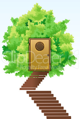 green home with tree and stairs