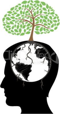 man's mind with tree