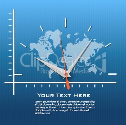 clock on world map