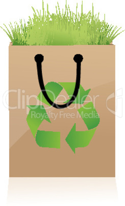 recycle bag with grass