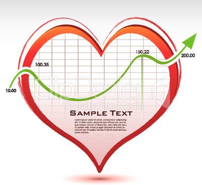 heart with arrow showing business statistics