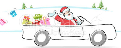 santa distributing gifts riding in car