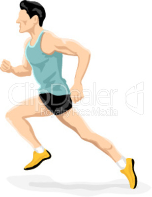 athlete running on white background