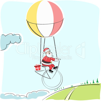 merry christmas card with santa flying