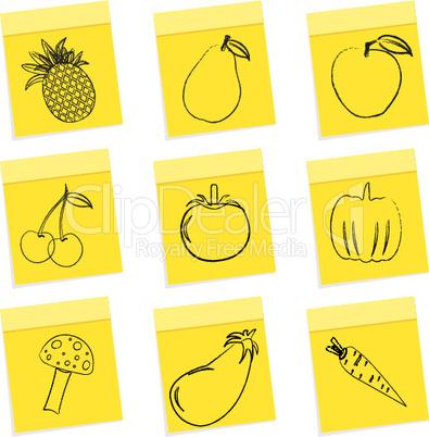 fruit & vegetables sketch on chit sticker