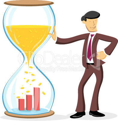 businessman standing with hourglass