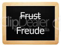 Frust / Freude - Konzept Schild