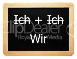 Ich + Ich / Wir - Konzept Tafel