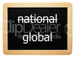 national / global - Concept Sign - Konzept Tafel